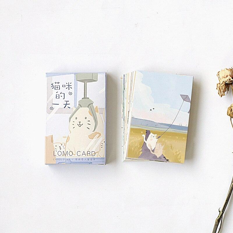 28 hojas/Set gato encantador vida diaria Mini Lomo tarjeta de felicitación postal/tarjeta de deseo/Navidad y nuevo regalos de año