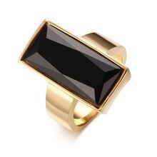 Bagues pour femmes en acier inoxydable couleur or rectangulaire en verre noir bague en cristal pour femmes bijoux de mode, cadeau meilleur ami