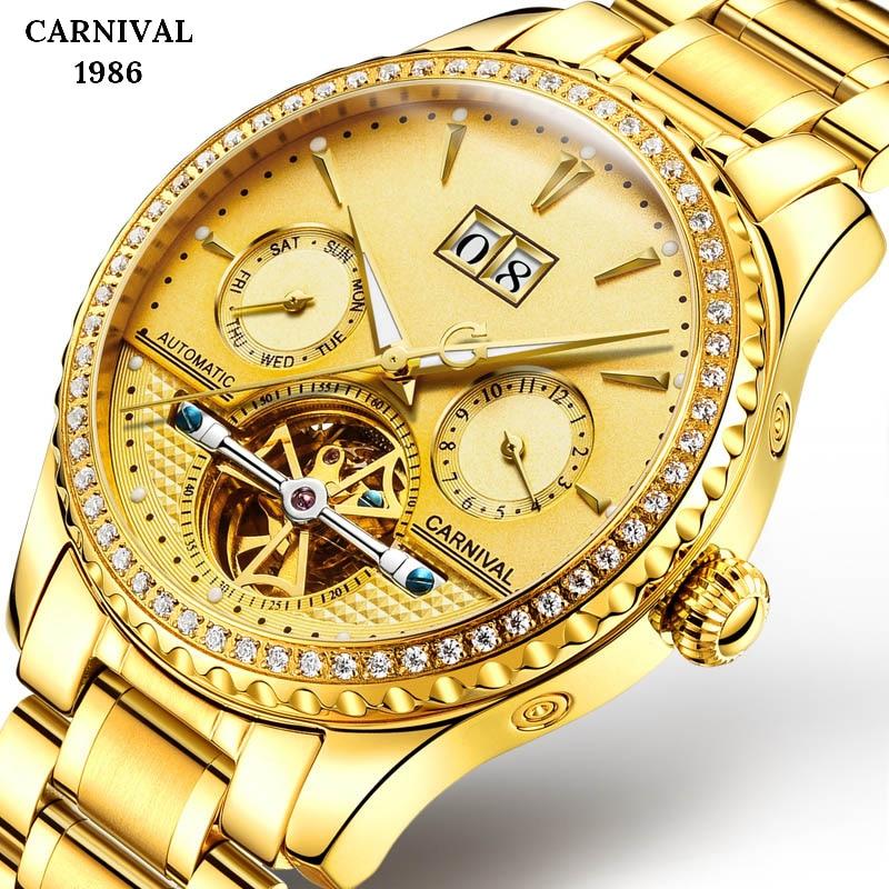 Switzerland business gold watch men Automatic Luminous clock men Tourbillon waterproof Mechanical watches top brand relogio NEW