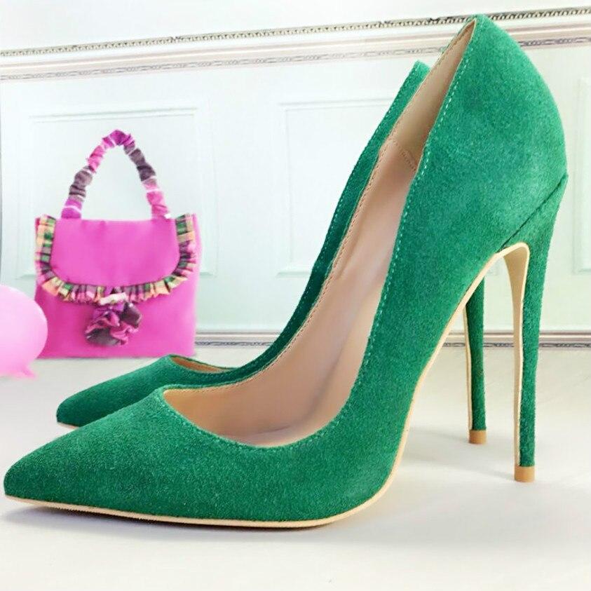 Keshangjia, Envío Gratis, calzado de cuero de ante, calzado de tacones para mujer para boda, zapatos de tacón alto sexis puntiagudos de 12cm