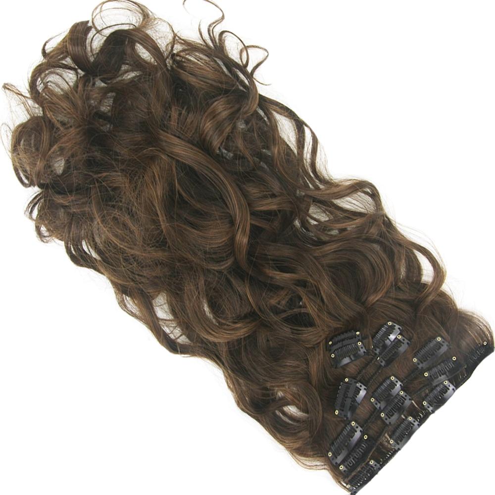 Soowee largo De alta temperatura De fibra De pelo sintético rizado Clip en extensiones De cabello negro marrón para mujeres Hairpiece Aplique De pelo