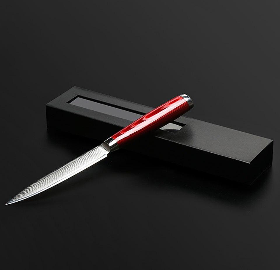 "Купить с кэшбэком FINDKING Brand 5"" damascus steel wooden handle kitchen knife sharper chef knife damascus fruit knife"