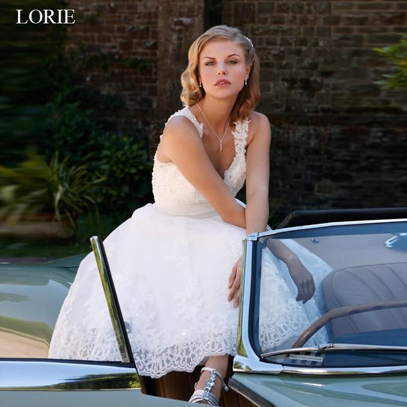 LORIE Короткие свадебные платья 2019 винтажные кружевные свадебные платья а-силуэта без рукавов vestido de noiva на заказ вечерние