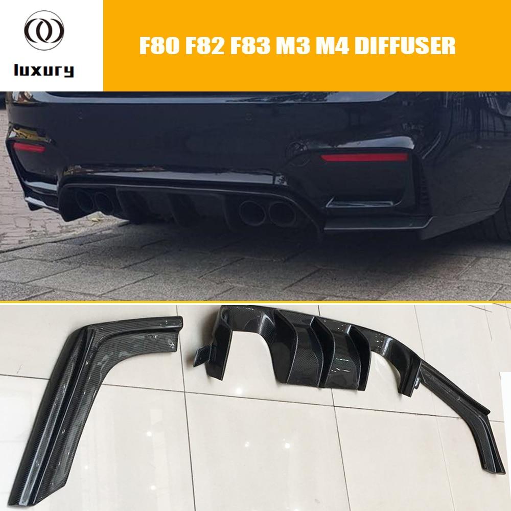 M4 protector de difusor de parachoques trasero de fibra de carbono con divisor lateral para BMW F80 M3 F82 M4 Coupe F83 M4 Convertible 12-18
