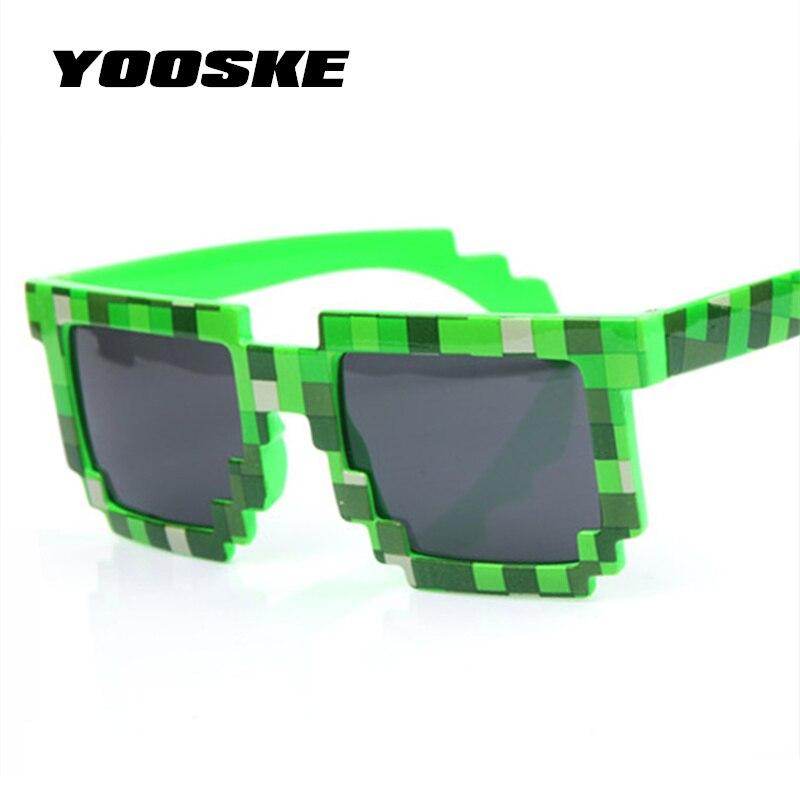 YOOSKE Vintage Glasses 8 bit Pixel Women Men Sunglasses Female Male Mosaic Sun Glasses kids Boys Girls child