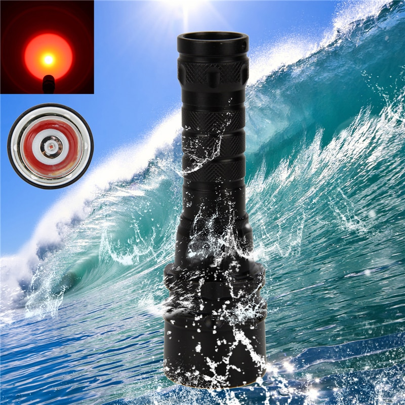 VastFire Q5 Red one LED lamp beads Scuba Diving Underwater 100m Flashlight Torch Lamp Light Headlight