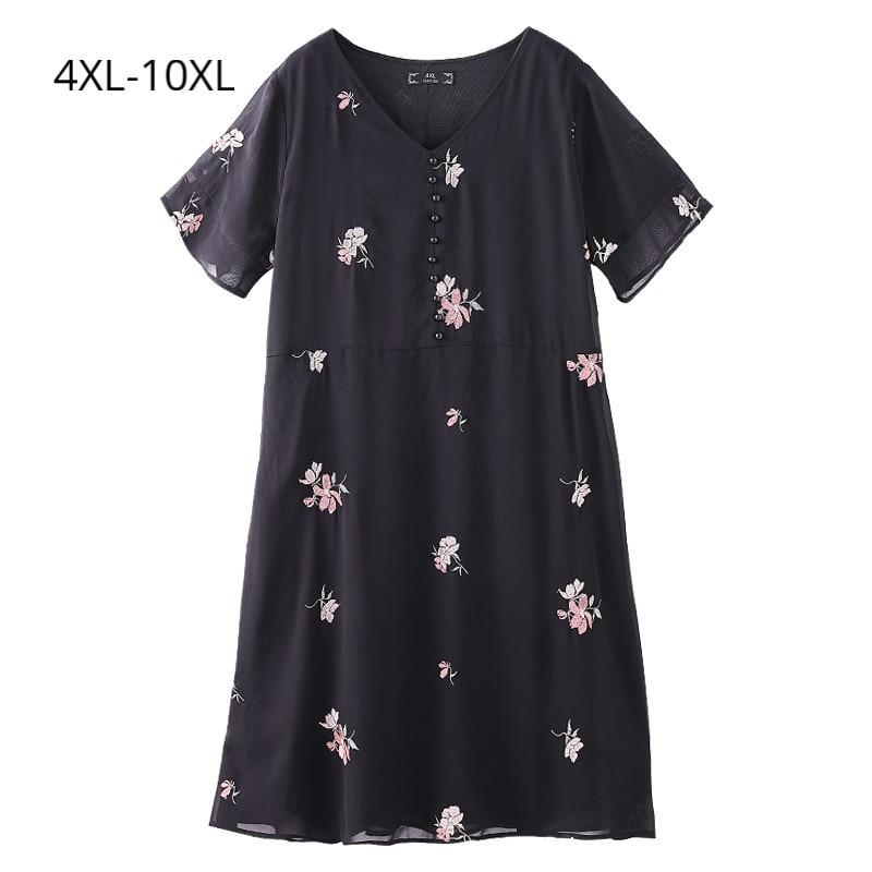 Plus Size 10XL 9XL 8XL 4XL Women Summer Short Sleeves Dress Femme Elegant Floral Print Chiffon Clothing OL Work Wearing Dresses