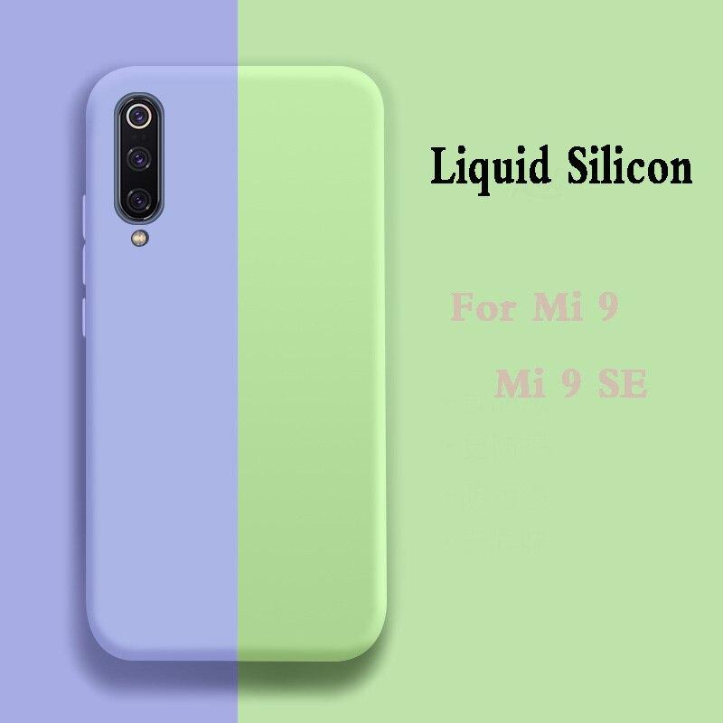 Funda de silicona líquida suave para xiaomi mi 9 se, funda trasera para teléfono xiaomi mi 9, funda de Color sólido para xiaomi mi 9 se, funda de lujo