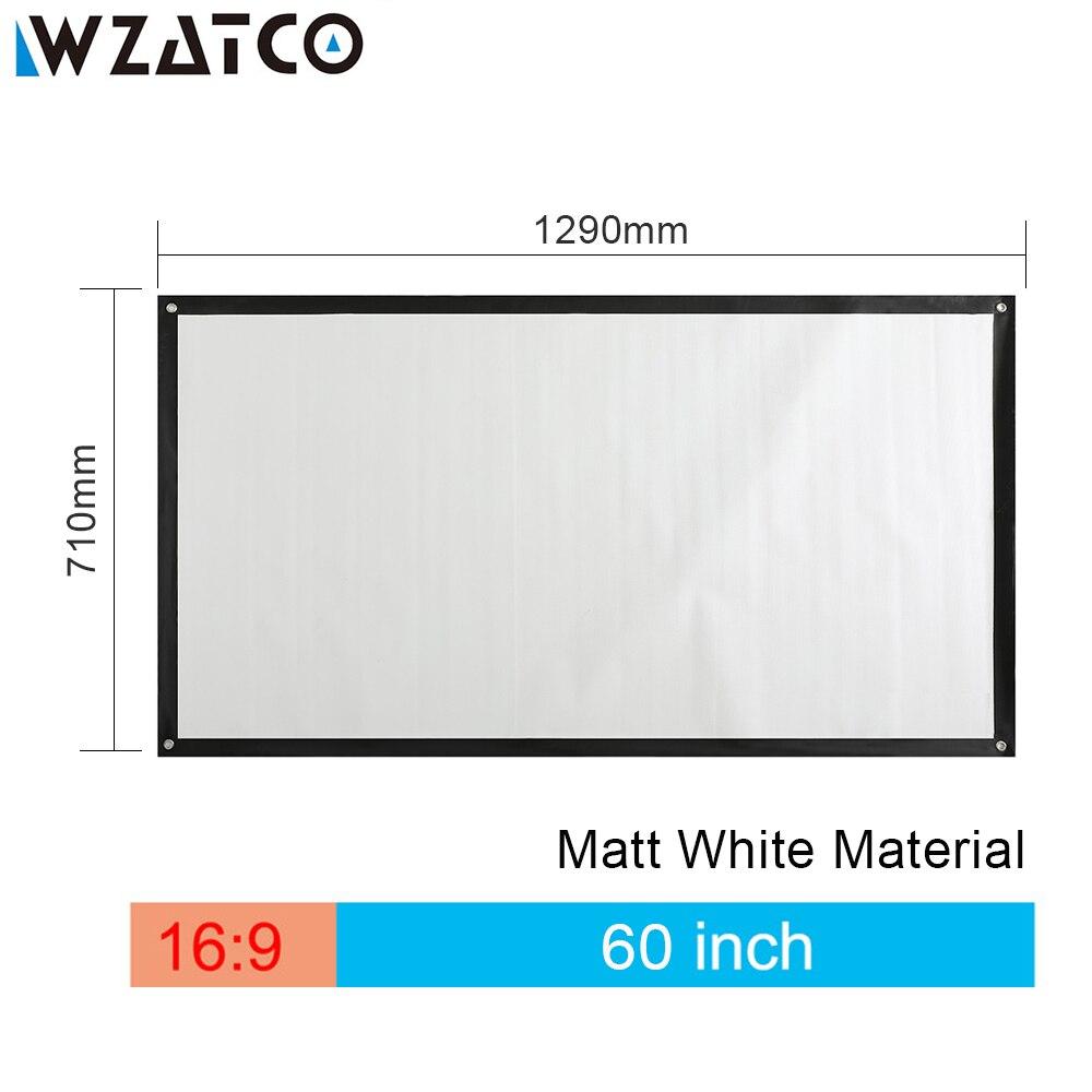 """Pantalla de proyector WZATCO HD 60 """"72"""" 100 """"pulgadas 169 pantalla portátil blanca mate pantalla de proyección frontal para proyector XGIMI C80"""