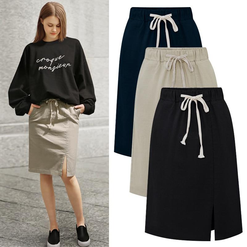 Cotton Women Skirts Large Size 5XL 6XL Causal Skirt For Women High Waist A Line Causal Plus Size Female Skirts 2019 New