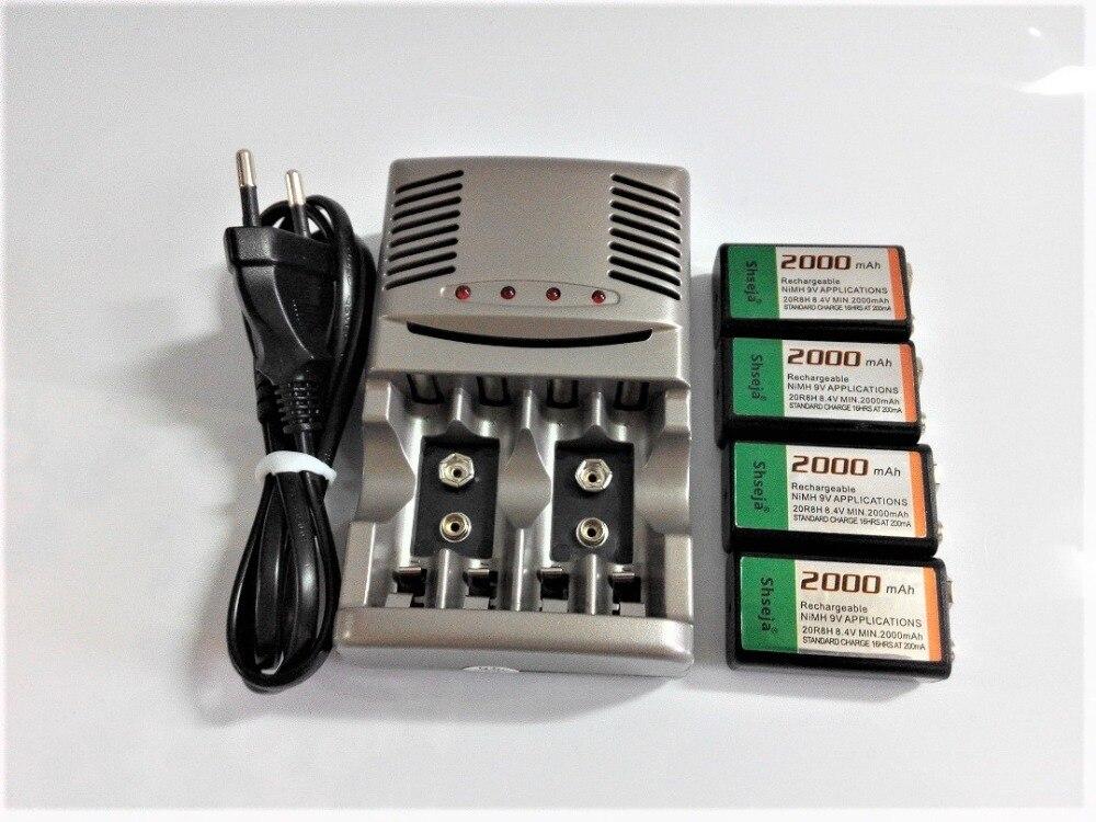 4 pièces 9v SUPER GRAND 2000mAh batteries NiMH Rechargeable Batterie De 9 Volts + Universel 9v aa aaa batterie chargeur