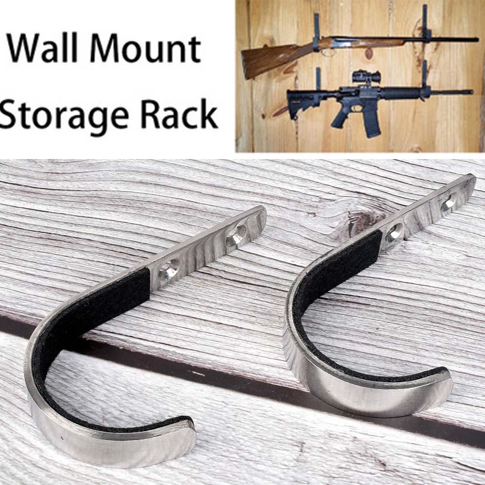 1 Pair Gun Wall Mount Storage Rack J-Hook Rifle Shot gun Hangers Set Anti-Scratch New Stainless steel gun rack