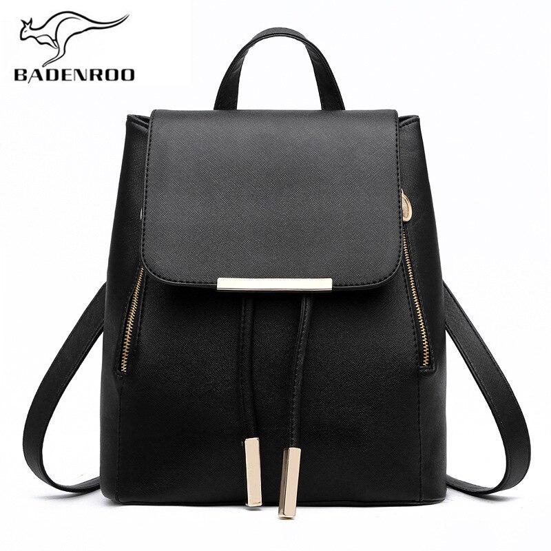 Badenro Hot Sale Leather Women's Backpack High Quality School Bags Mochila Rucksack Escolar Backpacks For Teenagers Girls Bolsas
