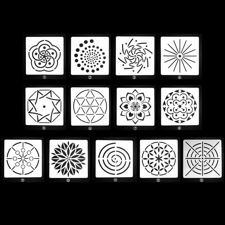 13 pièces Assorties Motif Mandala Parsemant Peinture Pochoirs Modèles Outils Jouets pour bricolage Artisanat Peinture Art Dessin Bois Toile Roches