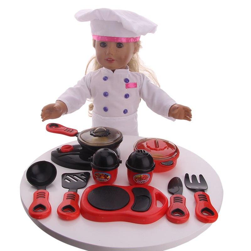 Accesorios de cocina ZWSISU, juego de ropa de cocinero, utensilios de cocina, apto para accesorios de muñeca americana de 18 pulgadas