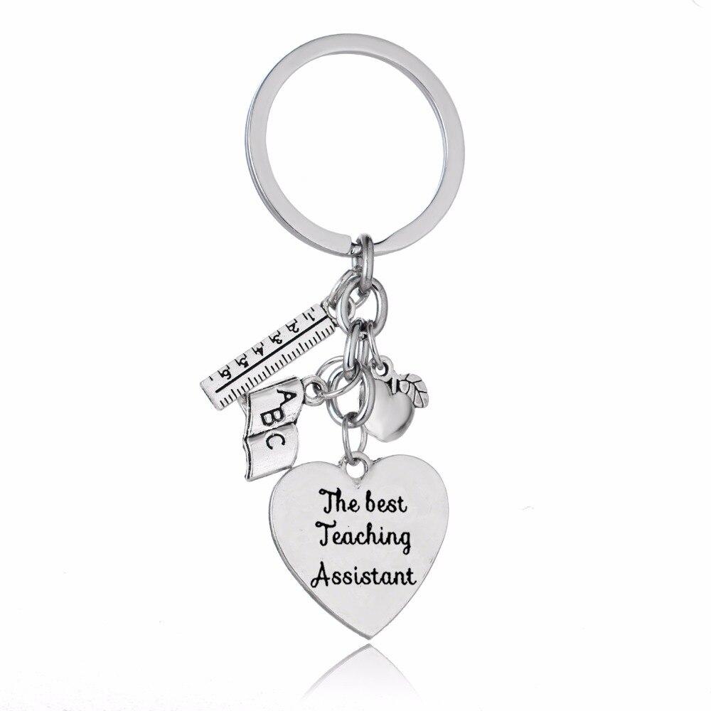 El mejor asistente de enseñanza llavero amor corazón manzana regla ABC libro llavero de abalorios profesores llavero de regalo para joyería profesor