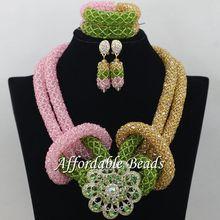 Popular African Dubai Jewelry Sets Nice Wedding Beads Set Handmade Item Wholesale Free Shipping NCD021