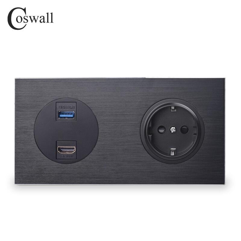 Coswall Luxuriöse Schwarz Aluminium Panel HDMI 2,0 USB 3,0 Port 16A EU Standard Wand Power Steckdose Geerdet R12 Serie