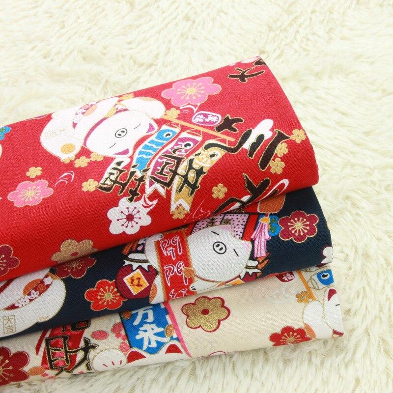 Tela de algodón gruesa de importación de media yardas con suave breeze gilt fortune pig, tela hecha a mano DIY para bolso de retazos, 100% de algodón A998