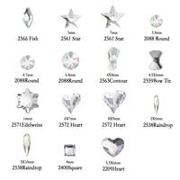 yanruo fashion 3d nail art crystal different shaped diamond crystal flat back rhinestones decoration glitter nails accessoires