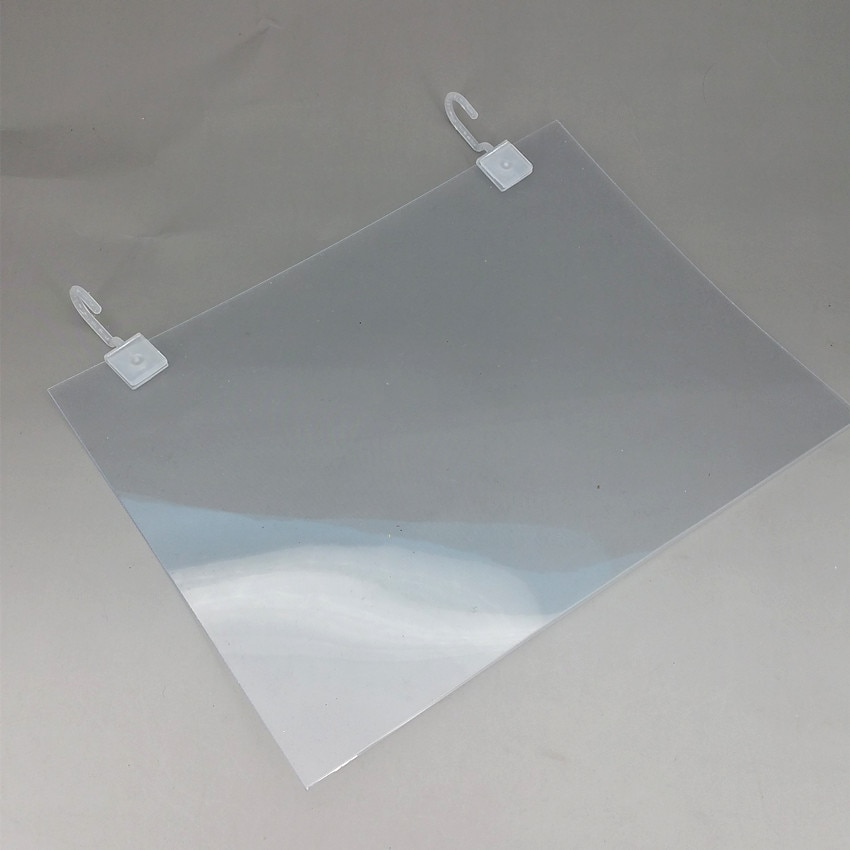 Plastic PVC Price Label Paper Promotion Signs Posters Display Protective Cover Holder A4A5/Customized Size Hanging Hook 20 Sets