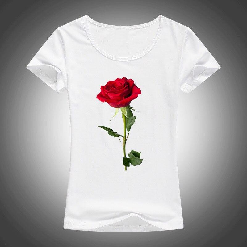 Camiseta de manga corta de algodón de verano 2018, Camisetas estampadas con rosas rojas Kawaii para mujer, Harajuku Camiseta a la moda, Camiseta femenina F28