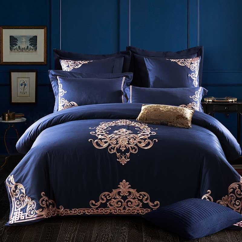 Alta gama 60s de algodón de grapa larga de lujo Jacquard bordado juegos de cama 100% algodón edredón cubierta sábana fundas de almohada reina rey