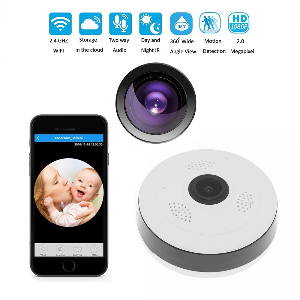 Cámara IP inalámbrica Wifi 360 grados panorámica 2,0 megapíxeles 1080P, cámara de seguridad, compatible con detección de movimiento nocturna IR, seguridad en el hogar