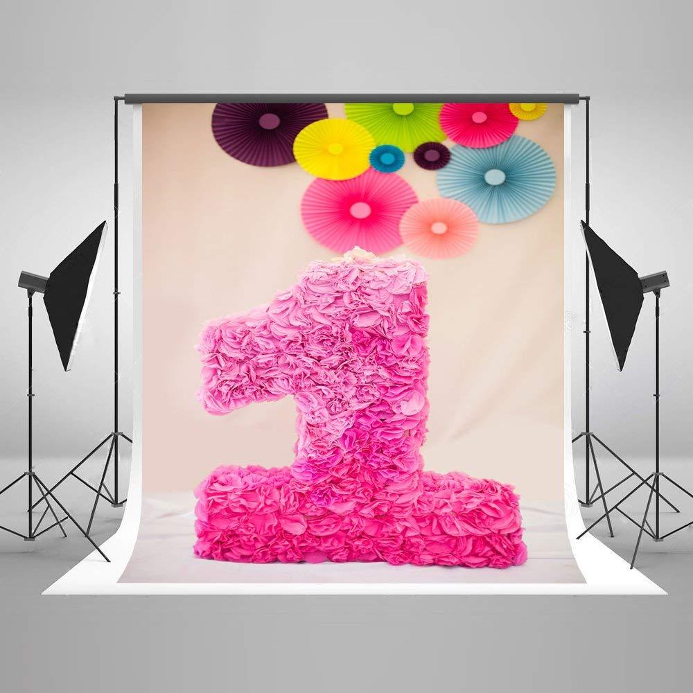 3D бумажные цветы фон для фотосъемки 5x7 футов ярко-розовый цветок свеча фото фон ребенок первый день рождения баннер пользовательское имя