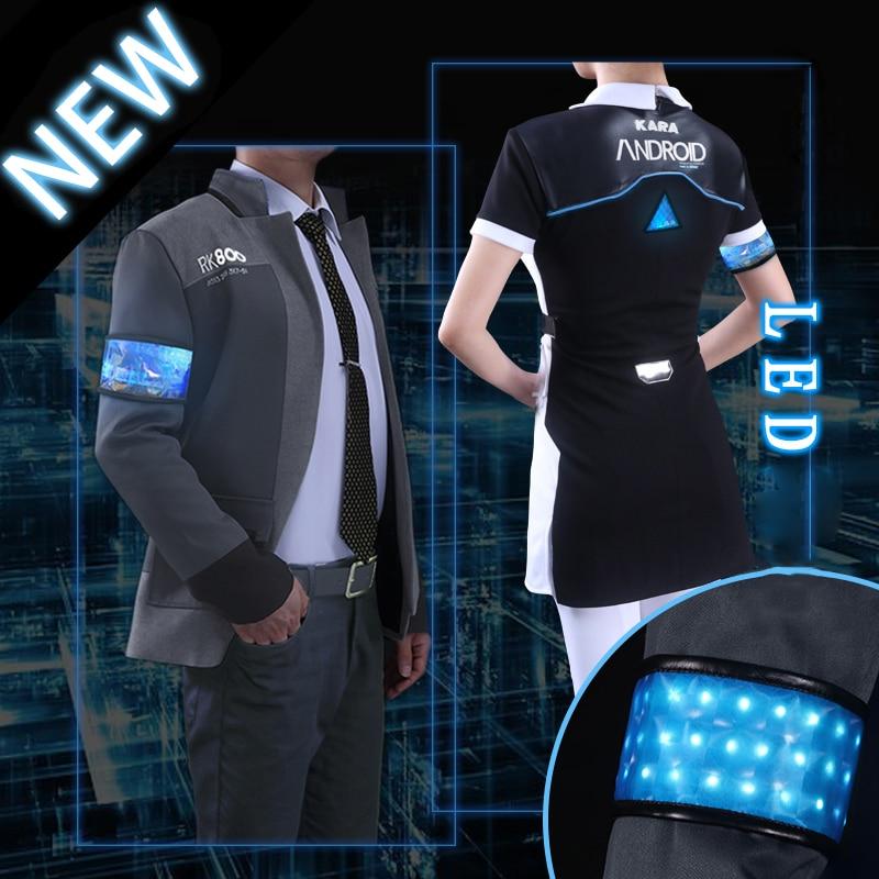 Juego Detroit conviértase en Cosplay humano Connor RK800 LED agente de actualización traje uniforme de Cosplay para Halloween
