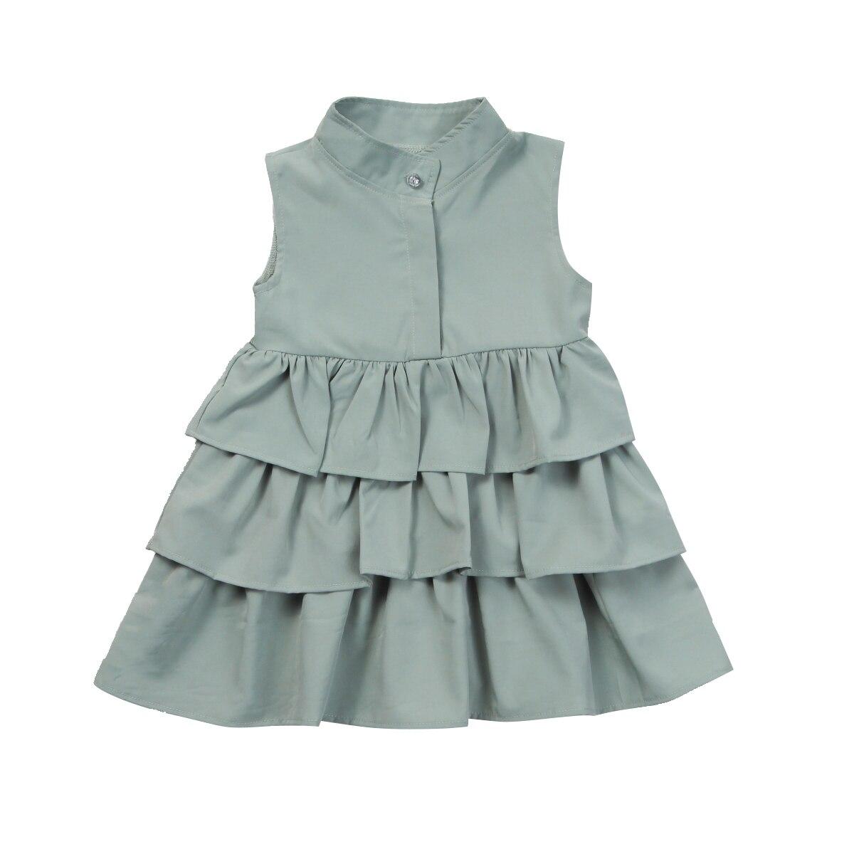 Emmamaby chico Baby Girls desfile sólido sin mangas cuello redondo pastel con capas Ruffle Tutu vestido burbuja ropa