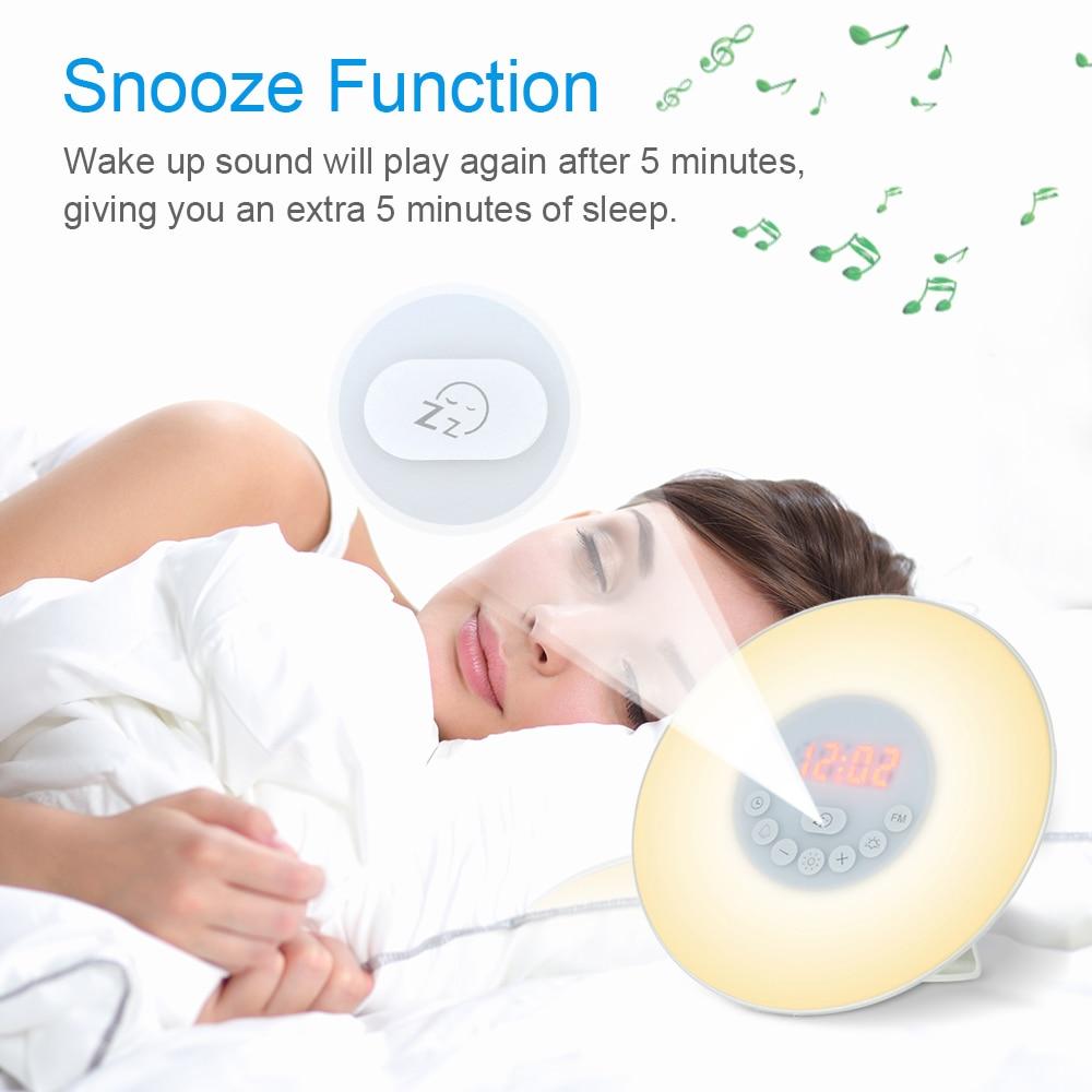 Despertador Luz de alarma reloj Sunrise/Sunset simulación reloj Digital Control táctil reloj de mesa con Radio FM función de repetición
