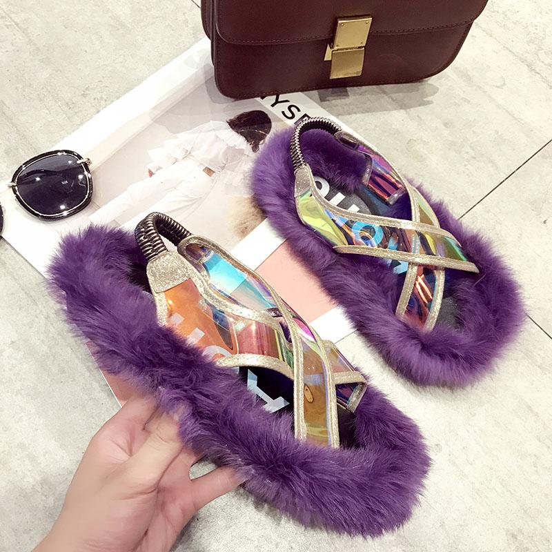 Zapatos de verano de marca de diseñador de lujo para mujer, Sandalias para mujer de piel, zapatos de verano para mujer, zapatos planos transparentes 2020 para mujer