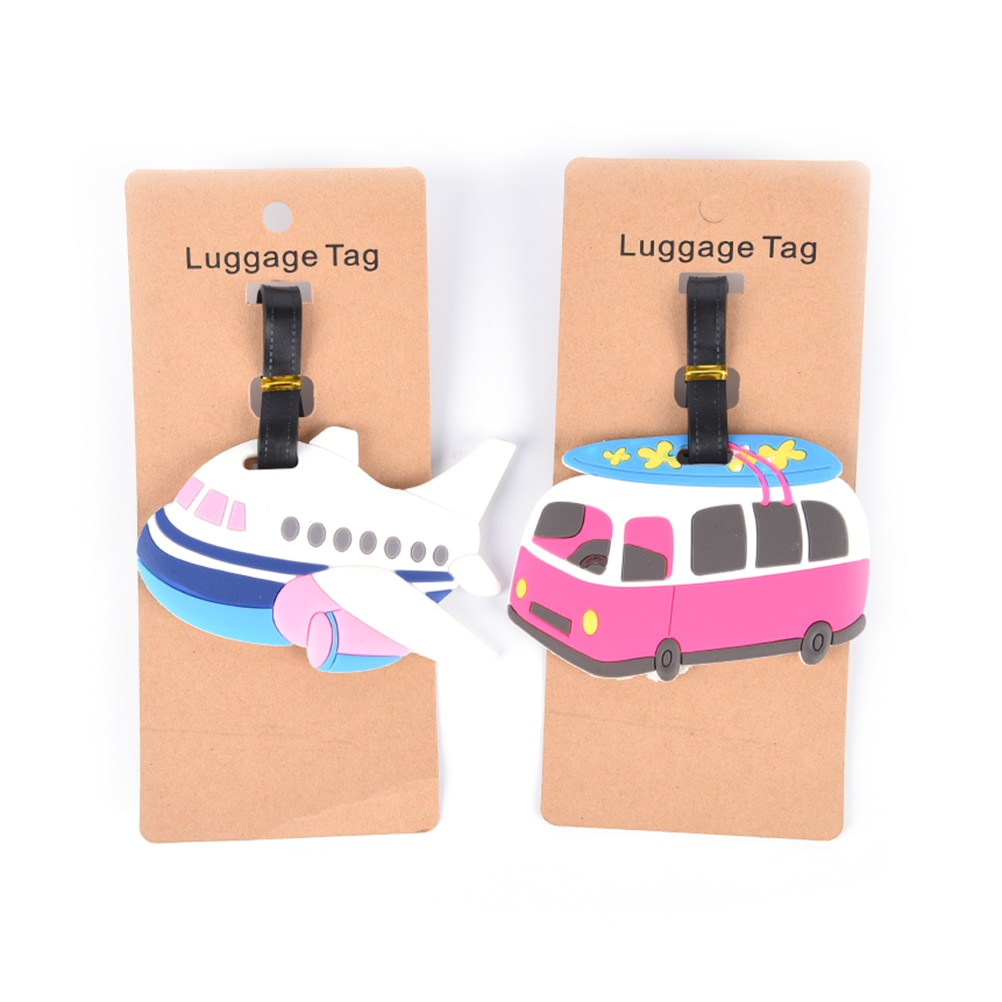 Аксессуары для путешествий, багажная бирка, мультяшный самолет, автомобиль, силикагель, чемодан, ID адрес, держатель, багажная бирка для поса...