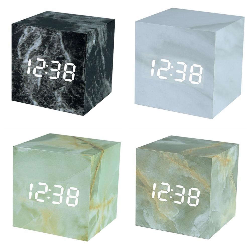 Marble Pattern Clock Digital Cube LED Desk Table Alarm Clock Sounds Control LED Display Alarm Clocks Home Office Nordic Decor