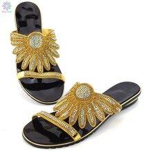 PU cuir or chaussures femmes soirée pompes de mariage Appliques cristal fleur décoré sur des chaussures africaines sans ensemble assorti