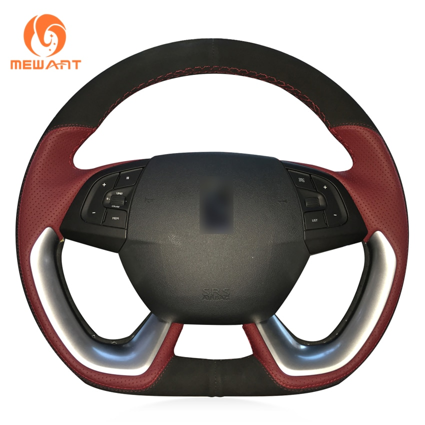Ante negro MEWANT, cuero rojo vino, envoltura cosida a mano, estilo de moda, protector para volante de coche para Citroen DS5 DS 5 DS4S DS 4S