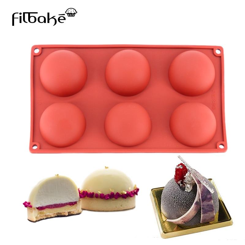 FILBAKE, 6 cavidades, medio en forma de círculo, moldes de silicona para hornear 3D, molde de pastel para postres de Chocolate, herramienta de decoración, moldes de Mousse