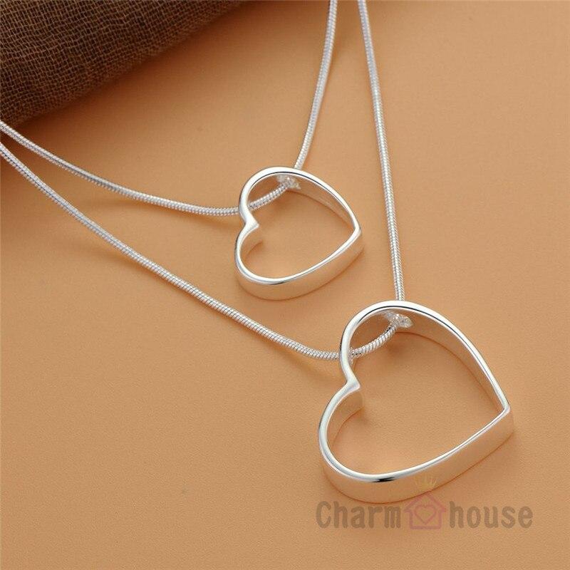 Женская подвеска в виде сердца, из чистого серебра 925 пробы, 18 дюймов, подарок другу