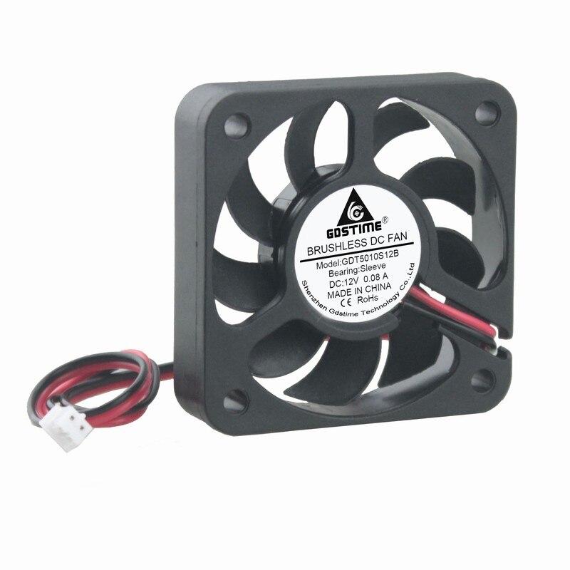 80mm 80 10 piezas 5012 DC 12 V PC ventilador de refrigeración de 50mm 2,0 2Pin conector 2 de 50x50 enfriador pequeño sin escobillas 9 cuchillas 5 cm x 10mm