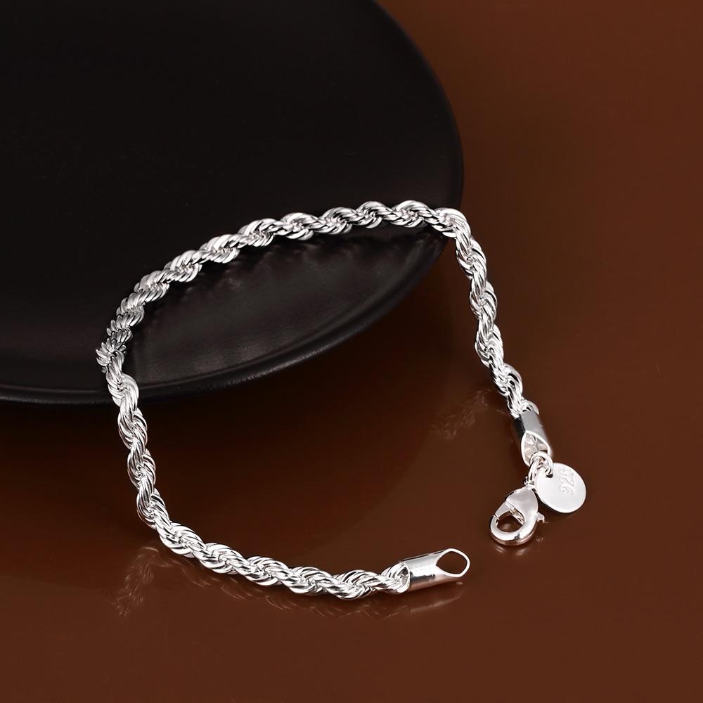 Elegant Shiny 925 Jewelry Unisex Twist Bracelet Fine Fashion Bracelets & Bangles For Women Top Quality Wholesale and Retail