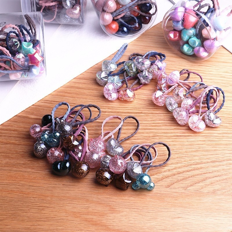 20 Uds nueva princesa de Color de flor bola elástica cintas del pelo para bebés tocado pelo de los niños cuerdas accesorios para el cabello niñas
