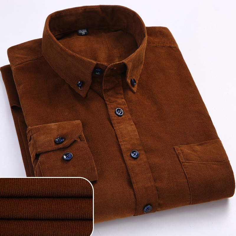 Plus Size 6xl Autumn/winter Warm Quality 100%cotton Corduroy long sleeved button collar smart casual