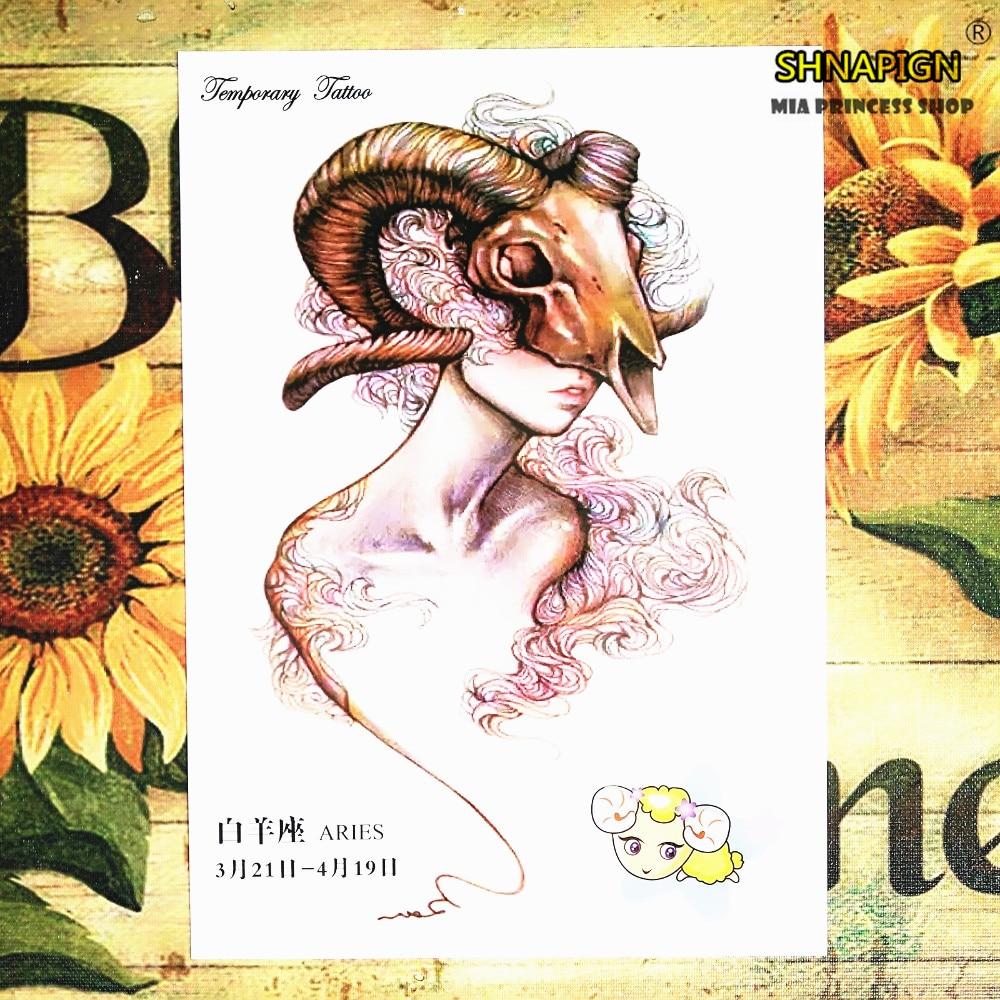 Aries Novos Projetos 12 Zodíaco Arte Corporal Temporária, Flash Do Tatuagem Adesivos 21*15 centímetros Henna Tatoo Verão À Prova D Água Produtos Do Sexo