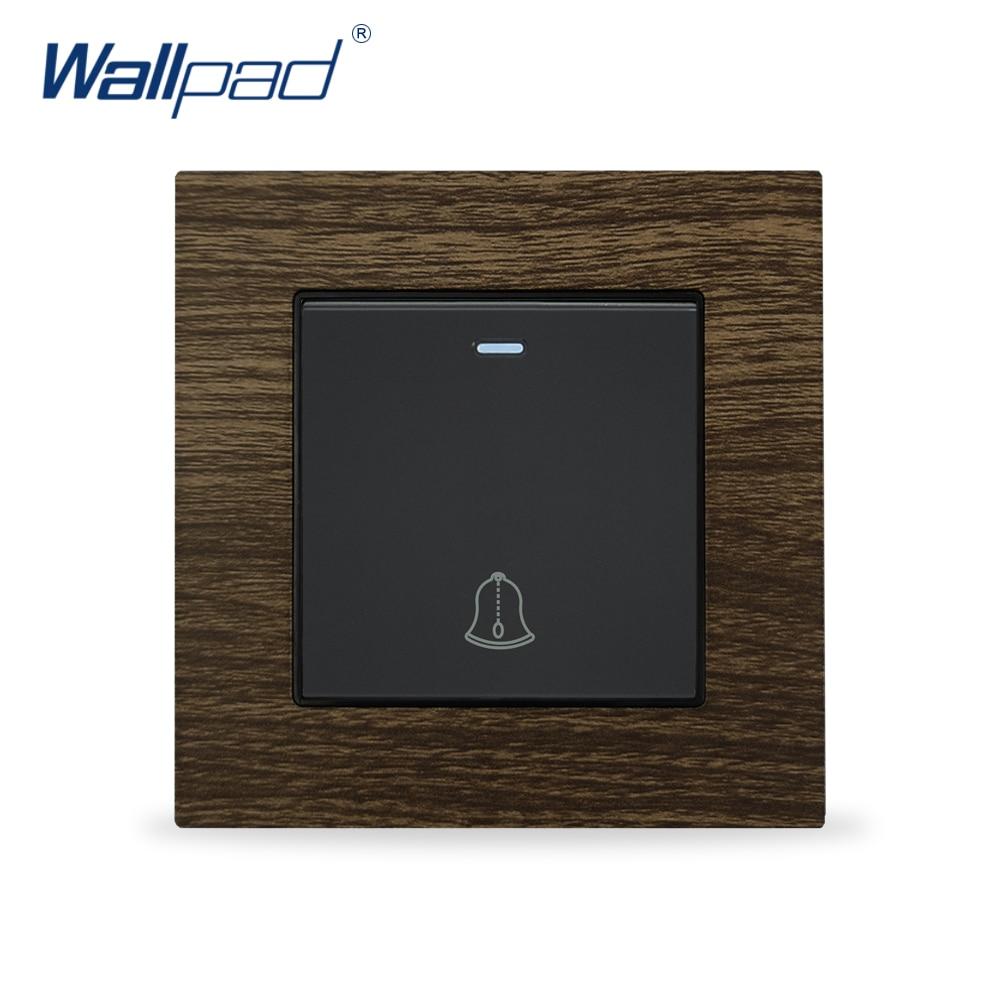 Interruptor de pared para timbre, panel de pared con marco de Metal de aluminio, interruptor de botón de diseño de madera, interruptor de Reinicio momentáneo
