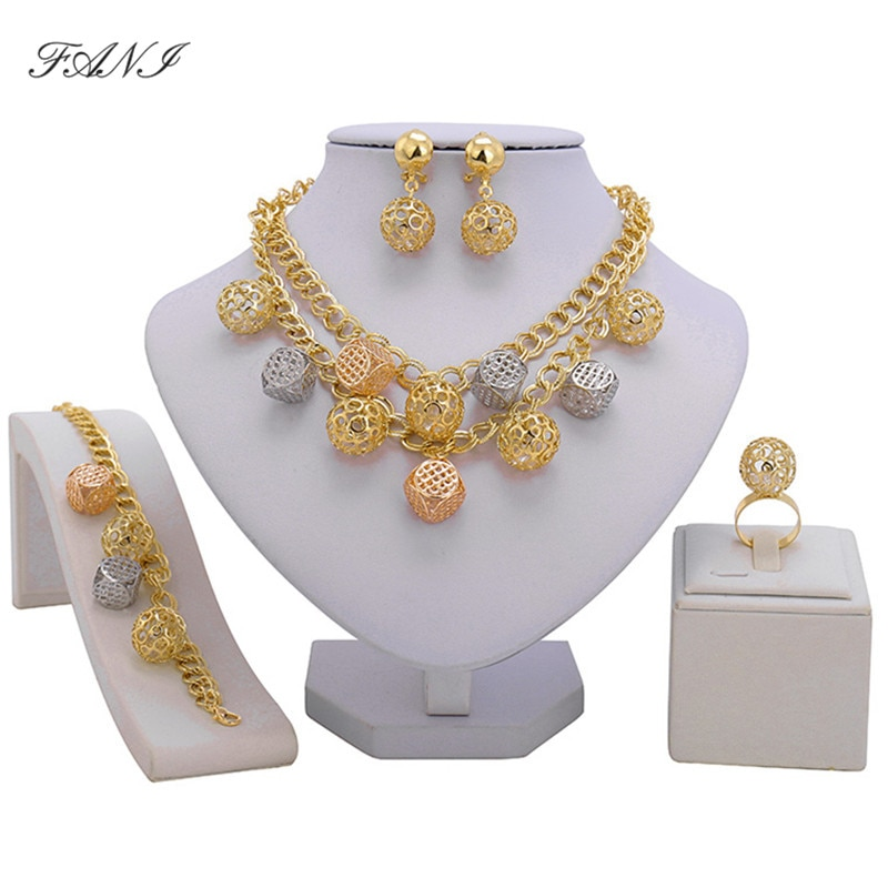 Fani 2018 conjunto de joyas de cuentas nupciales nigerianas marca Dubai conjunto de joyería de color dorado venta al por mayor de Moda Africana juego de joyas con cuentas de diseño