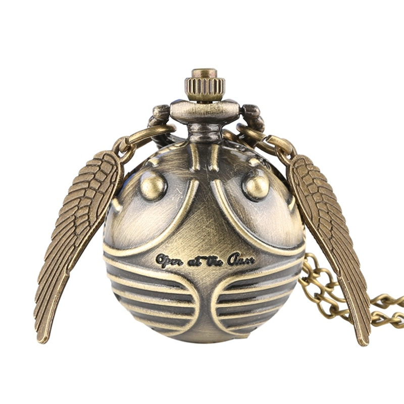 Retro Snitch Ball Shaped Potter Quartz Pocket Watch Fashion Sweater Angel Wings Necklace Chain Gifts