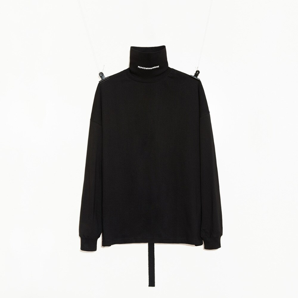 ¡Nuevo! Camisa de manga larga de cuello de tortuga PMO Peaceminusone estilo g-dragon, camiseta en blanco y negro
