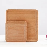 roundsquare wood plate beech wooden cake dishes home hotel school dessert serving tray wood sushi bread plate dinnerware