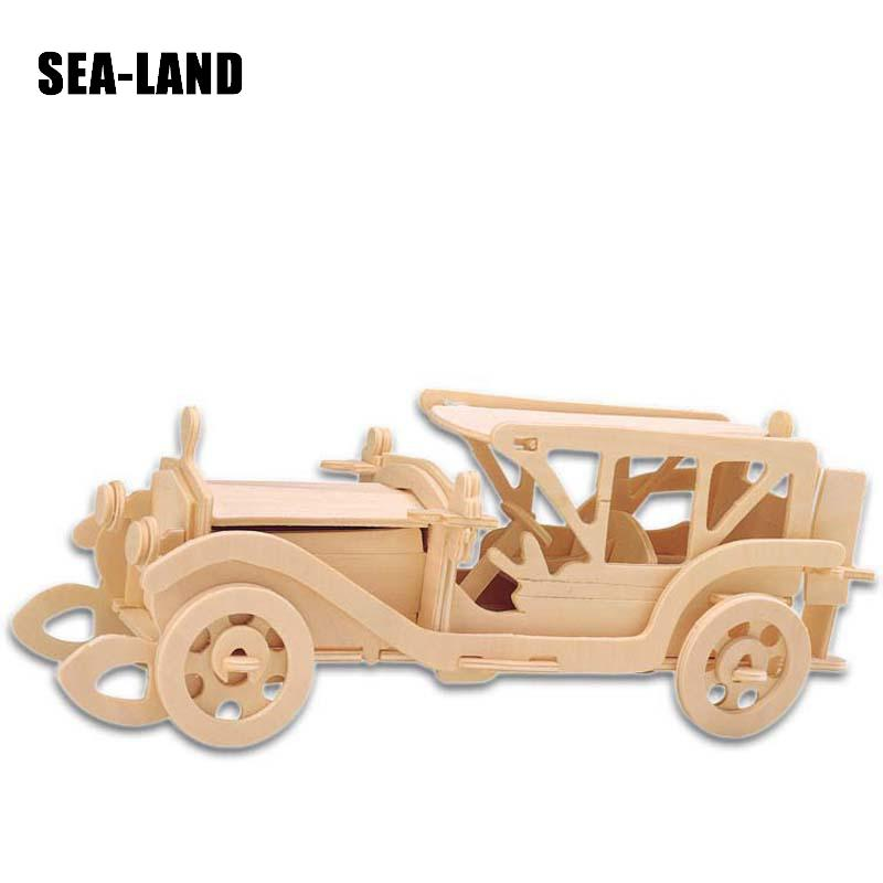 Kids Toys Wooden 3D Puzzle For Children Beat-up Car A Montessori Educationaly Diy Toy Challenge Wisdom A Gift For Kids Or Adult